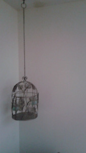 Hanging metal bird cage candle holder