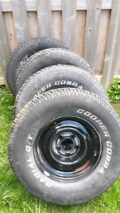 Chevrolet 5x5 rims and 15 inch tires.