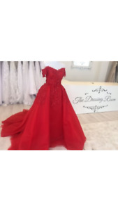 Beautiful red off shouldered ball gown for sale!