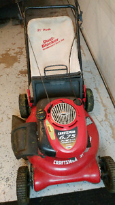 6.75 hp craftsman lawn mower with a rear bagger