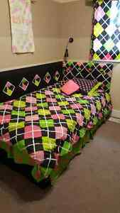 blanket, sheets, pillowcases and bed sham for girl's room