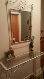 ensemble console+miroir+chevets+chaise (5 morceaux)