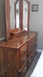 Dresser,  mirror and matching head board