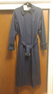 NWT Aquascutum long navy trench coat Size 4 US Made in England