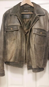 MANTEAU CUIR GRIS--LEATHER JACKET - GREY -UNISEX