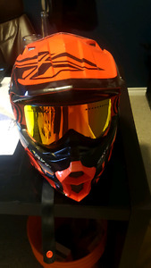 Fly F2 racing helmet with nfx dragon goggles