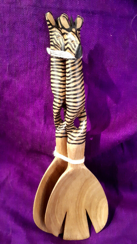 African Wooden Salad Server Sets With Gift Bags New Kitchen