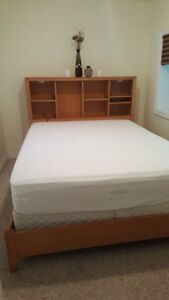 Wood Queen-Size Bookcase Bed