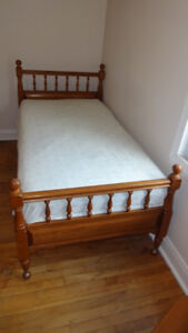 Two twin beds, solid maple hardwood