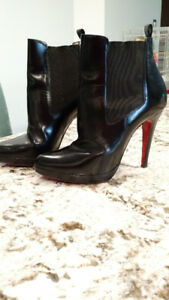 Christian Louboutin So Kate Black Leather Boots - Size 38, 120mm