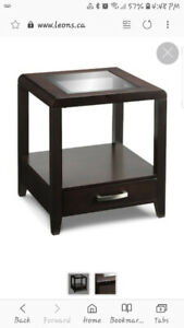 Expresso glass insert End tables.$150 ea. Brand new, no damage