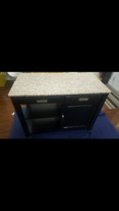 Granite counter top Kitchen island . Shelves & 2 Drawers