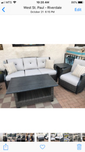 NEW high end wrought aluminum patio set sofa 2 chairs 3 tables