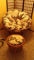 2 Pc round wicker chair with pillow and ottoman