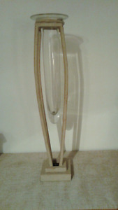 Metal and glass vase