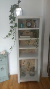 Shabby chic solid wood bookshelf in disressed white (2 available