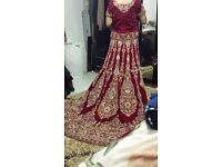 Red and gold Asian wedding bridal lengha