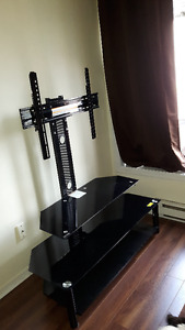 black metal and glass articulated tv stand