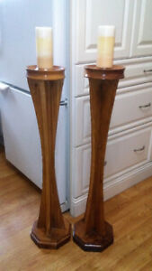 PAIR OF ARTS & CRAFTS LARGE SOLID GOLDEN OAK CANDLE HOLDERS