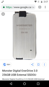 256GB MONSTER EXTERNAL HARD DRIVE. PLUS 100 shows. $50