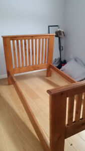 Solid Wood Twin Bed & Mattress