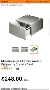 LG 27 in. Laundry Pedestal with Storage Drawer in sliver grey