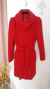 NEUF Manteau rouge laine/cachemire TRISTAN (Red Wool Coat NEW)