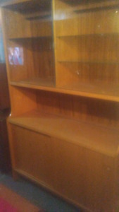 Teak Cabnet with Glass and Wood Shelves