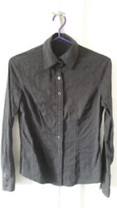 Brand New Black Striped Button Down Blouse