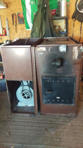 Forced air wood/oil furnace