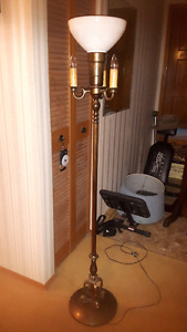 ANTIQUE TORCHIERE LAMP with Vintage Milk Glass DIFFUSER Shade