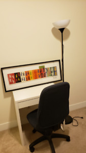 Desk, Chair, Picture, Lamp