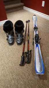 Rossignal Carve 160cm Skis, Bindings, Nordica 27.0 Boots, Poles