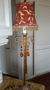 "SMALL Copper Metal Table LAMP 25"" HIGH BEADS Victorian Shade"