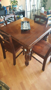 Antique solid wood table and chairs