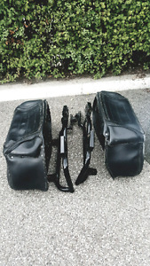 Saddlebags with brackets and windshield with accessories