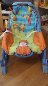chaise berceuse musicale et vibrante; bouncy rocking chair
