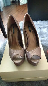 Forever 21 bronze and sparkling stilletos