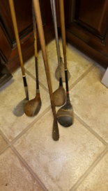 Vintage wooden shafted golf clubs.
