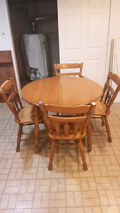 Maple Table chairs and leaf