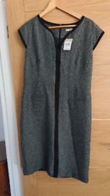 Smart size 14 grey dress in tweed style fabric
