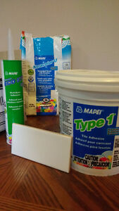 Wall tile cement, subway tiles, grout and floor adhesive