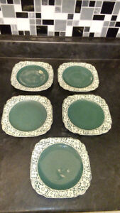5 HARKER CAMEO WARE TEAL with FLORAL PATTERN DESSERT PLATES