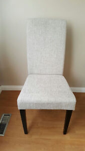 2x dining chairs in off white/light grey fabric! Like new!