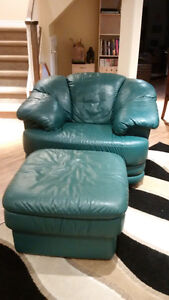 Green Leather Love Seat, Easy Chair and Ottoman