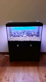 200L fish tank aquarium (cabinet, gravel, filter, lights & heater inc)
