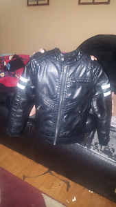 Leather and wool jacket