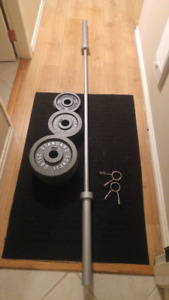 Olympic bar, 2 clips and 150lbs
