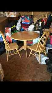 Solid maple 40 inch round dining table & 2 chairs