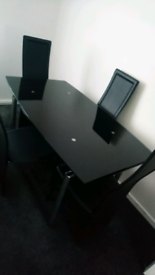 Glass dining table & 4x chairs